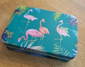 Pink Flamingo Sara Miller Tin with 12 Chocolates