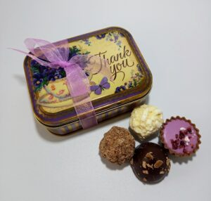 Thank You tin filled with chocolates
