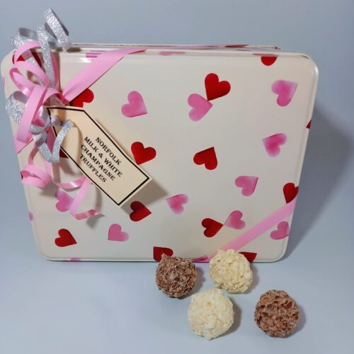 Emma Bridgewater Heart tin with Champagne Truffles