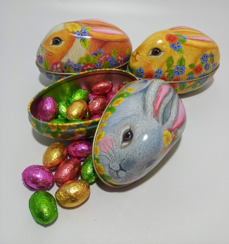 Bunny Tin with Chocolate Eggs